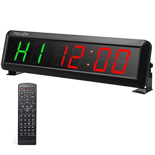 PELLOR Temporizador con Pantalla LED, Reloj de Pared 6 Dígitos LED Temporizador de Intervalos, Reloj en Tiempo Real de 12/24 Horas, Gym Temporizador con Mando a Distancia por Infrarrojos