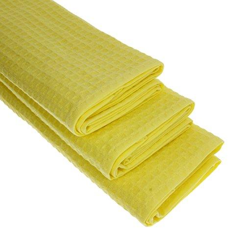 3 x Piquee de Torchon, dans Gastro qualité, 100% coton, 70 x 50 cm, tissu gaufré de haute qualité, couleur : jaune