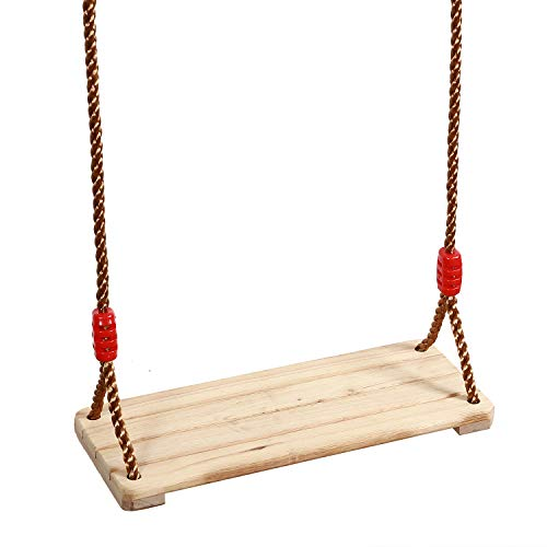 KINJOEK 158 x 63 Wooden Swing Hanging Wooden Tree Swings Seat Adjustable 48 to 83 Inches Cable 220 lbs Capacity Birch Wood Durable Sturdy Swings for Adult Kids Children Garden Yard Indoor Use