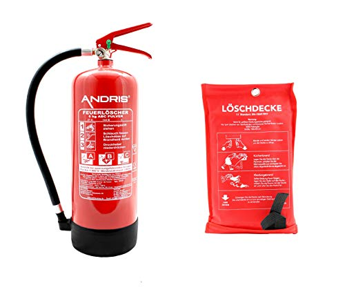 Feuerlöscher 6kg ABC Pulverlöscher EN 3 inkl. Löschdecke 1m x 1m, mit Manometer, ANDRIS® Prüfnachweis mit Jahresmarke & Wandhalterung