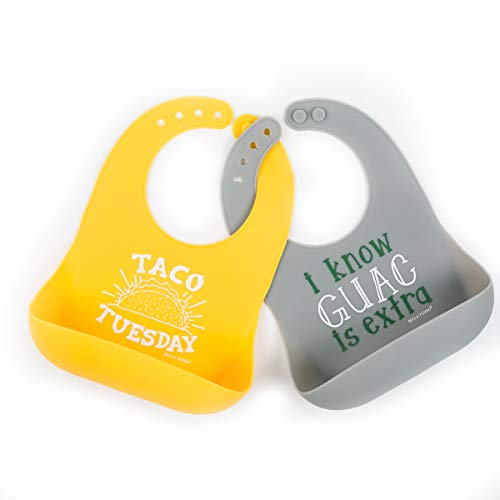 Bella Tunno 2 Piece Pack Guac Plus Taco Tuesday Wonder Bib, Yellow, Grey
