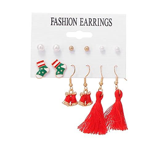 FEARRIN Pendientes de Oro Vintage Pendientes de Borla para Mujer Elk Pendientes de botón de árbol de Navidad Conjunto de Joyas Regalos H22-KME308-4