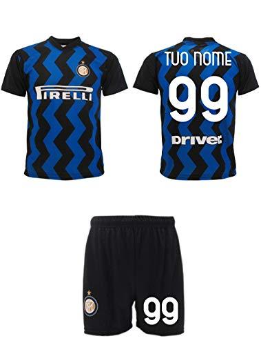 Completo Inter 2021 Personalizzato Ufficiale 2020-2021 Maglia e Pantaloncini Adulto Ragazzo Bambino Tuo Nome e Numero (L Adulto)
