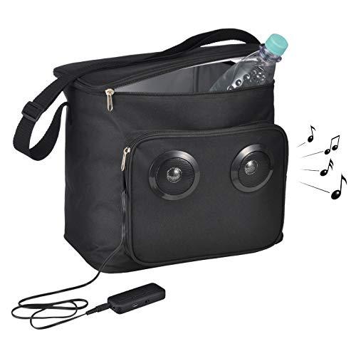 HI Koeltas met accu en luidspreker, koelbox accu (18l inhoud), praktische schoudertas, kleine koeltas voor onderweg, coole tas voor strand, camping enz.