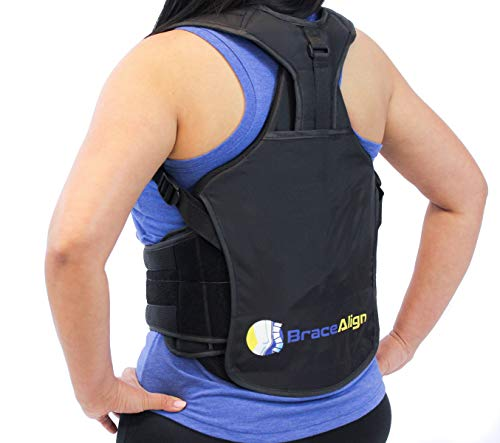 TLSO Thoracic Medical Back Brace PDAC L0456 L0457 - Pain Relief and Straightener for Fractures, Post Op, Herniated Disc, DDD and Spinal Trauma, Mild Scoliosis, Kyphosis, Osteoporosis by Brace Align