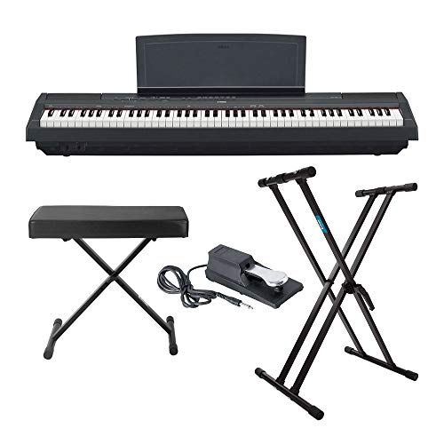 Yamaha P125 88 Weighted Key Digital Piano Bundle with Knox Double X Stand, Knox Large Bench and Sustain Pedal (4 items)
