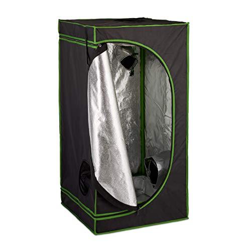 Relaxdays Growbox, HxBxT: 120x60x60 cm, Pflanzen Anbau, Reflexionsfolie innen, verdunkeltes Zuchtzelt, schwarz/grün