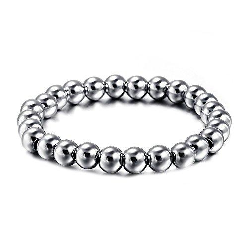 BOBIJOO JEWELRY - Pulsera de Perlas de 8 mm de Acero Inoxidable Bola de Buda