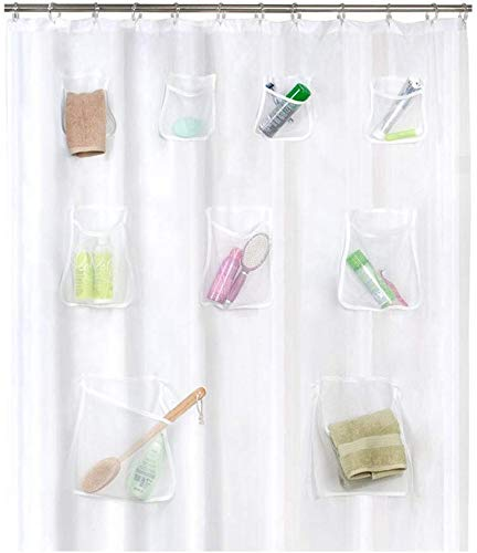 Venus valink Duschvorhang aus PVC, transparent, mit Taschen, wasserfest, für Badezimmer, als Dekoration für das Badezimmer 02
