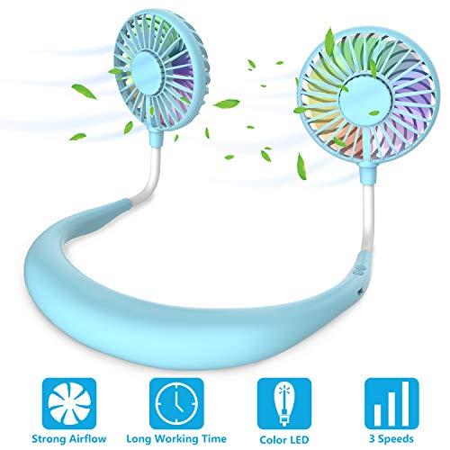 ITSHINY Tragbarer Ventilator, Mini USB Ventilator Hände, Wiederaufladbarer Tragbarer NackenbügelVentilator, SchreibtischVentilator, Ventilator Mit Bügel für Den Nacken, 3 Geschwindigkeiten LED-Licht