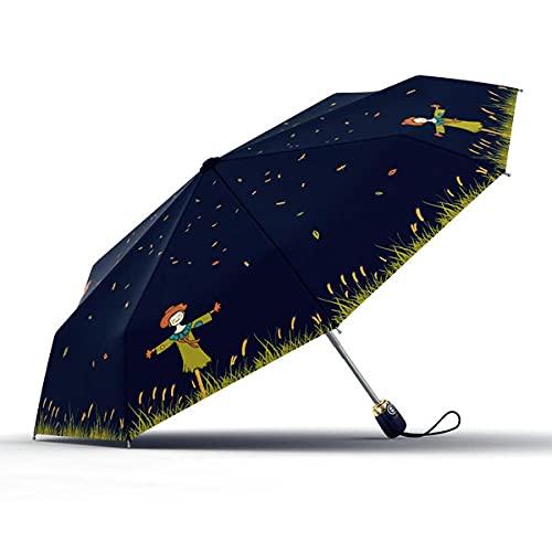 Folding - Shade - Wind Protection Cartoon Qingxin Vernet Automatic Umbrella Ultraviolet Windproof Landscape Garden Alloy Women Umbrella Upf50-Navy