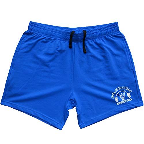 Alivebody - Pantaloncini sportivi da body-building, da uomo, lunghezza gamba interna 12,7 cm, con tasca, in cotone Blu Large