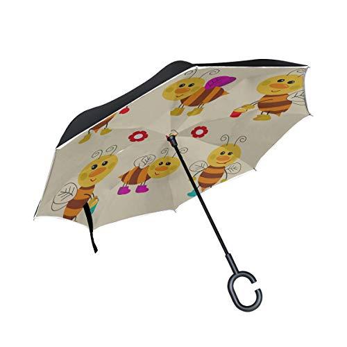 Double Layer Inverted Large Inverted Umbrella Honigblume Herz Biene und Bienenstock Reverse Travel Umbrella Umbrella Kids Folding Winddichter UV-Schutz für Regen mit C-förmigem Griff