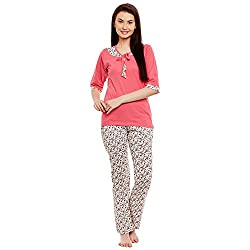 Claura Cotton Printed 3/4th Sleeve Lower and Top Pyjama Set (Night Suit Set)