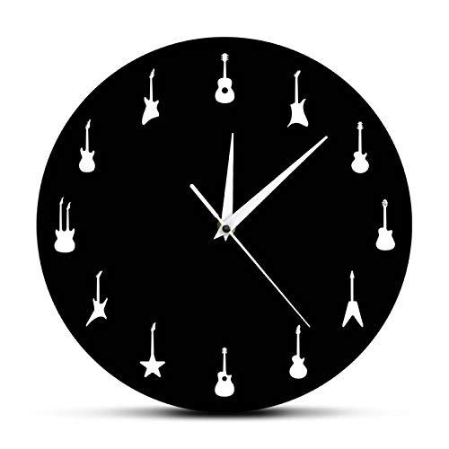 yage Reloj de Pared con Silueta de Diferentes Guitarras, Reloj de Pared de diseño Moderno con música, Relojes Colgantes de Arte de Pared, Regalo para Guitarrista, Amante de la música