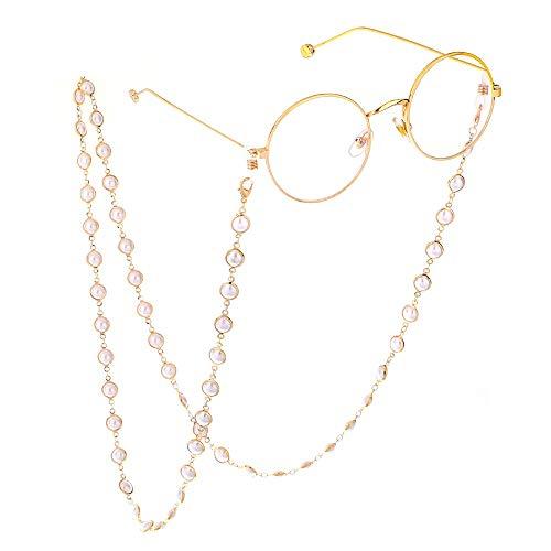 Cadenas de anteojos Gafas de cadena con el sostenedor for las mujeres, antideslizante anti-pérdida de las gafas de sol gafas de Cadena Gafas de mujer Cadenas y cordones ( Color : White , Size : 70cm )
