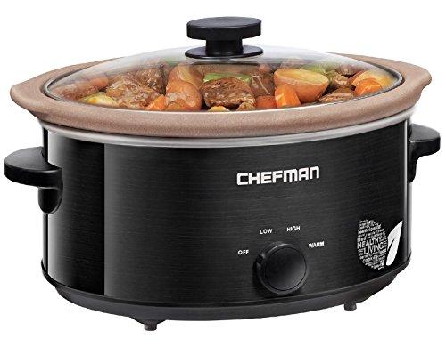 Chefman Slow Cooker, All-Natural XL 5 Qt. Pot, Glaze-Free, Chemical-Free Stovetop, Oven, Dishwasher...