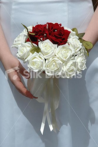 Stunning Ivory & Burgundy Red Rose Wedding Small Bridal Bouquet