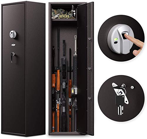 Cozy Castle Rifle Safe, Biometric Gun Safe for 6 Rifles and 8-Pistols, Quick Access Gun Cabinet with Double Unlock, Gun Safe for Home, Optional Mute Mode
