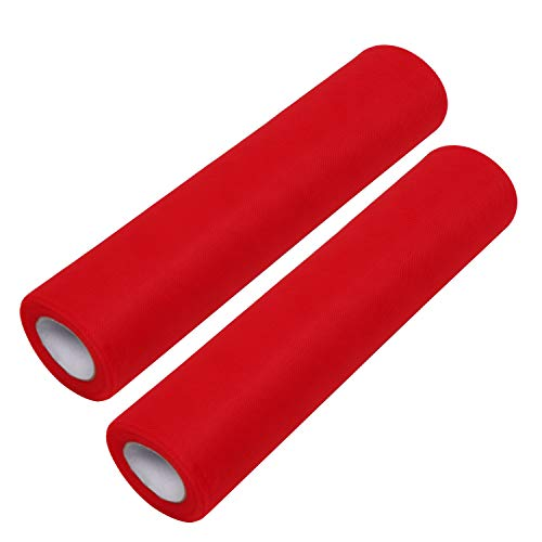 Rollo de Tul (Pack de 2) - 25m Largo x 30cm de Ancho, Rojo Tela de Tul para Tutú Falda, Caminos de Mesa, Lazos Sillas, Envolver Regalos, Pompones, Manualidades, Decoración Boda y Cumpleaños