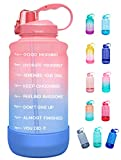 Elvira Half Gallon/64oz Motivational Time Marker Water Bottle with Straw & Protective Silicone Boot, BPA Free Anti-slip Leakproof for Fitness, Gym and Outdoor Sports-64oz-Pink/Purple Gradient