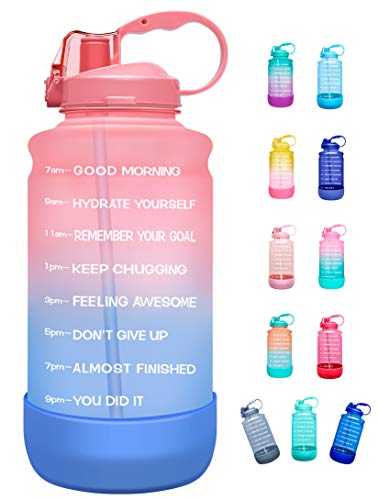 Elvira Half Gallon/64oz Motivational Time Marker Water Bottle with Straw & Protective Silicone Boot, BPA Free Anti-slip Leakproof for Fitness, Gym and Outdoor Sports-Pink/Purple