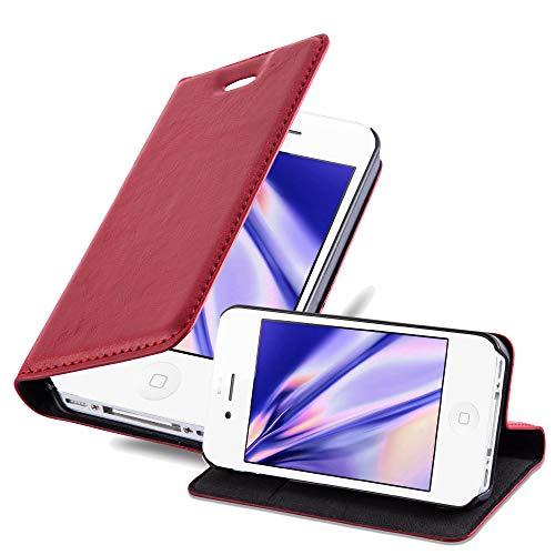 Cadorabo Funda Libro para Apple iPhone 4 / iPhone 4S en Rojo Manzana - Cubierta Proteccíon con Cierre Magnético, Tarjetero y Función de Suporte - Etui Case Cover Carcasa