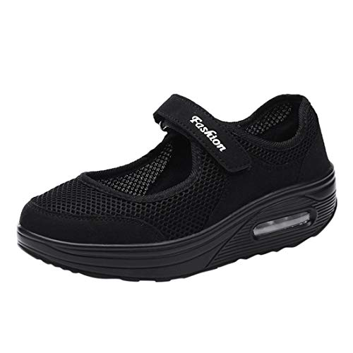 Women's Solid Color Air Cushion Heighten Shoes Light Lounger Shoes Girl's Mesh Breathable Comfortable Sneakers (Black, 7-Women-US)
