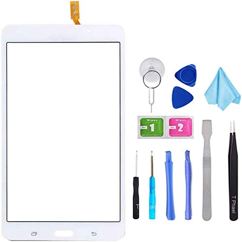 Tefir White Touch Screen Digitizer Glass Replacement For Samsung Galaxy Tab 4 SM-T230 T230NU 7' inch(Not include LCD) with Adhesive and Tools