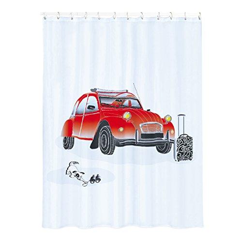 MSV 140814 Rrideau de Douche Citroen 2Cv 180x200cm Polyester, PVC, Argent, 30x20x110 cm