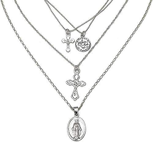 Yiffshunl Collar Charms Coins Gargantilla Trendy Multi Layer Chain Gold Jesus Big Cross Colgante Collar Mujeres Joyería Collares Regalos
