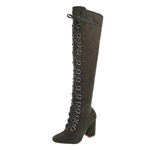 Ital-Design Overknees Damen-Schuhe Overknees Pump Schnürer Reißverschluss Stiefel Khaki, Gr 40, Jr-009-