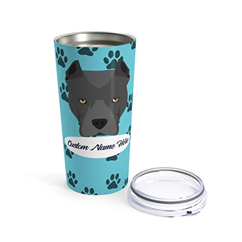 Custom Pitbull Travel Mug - 30 Breeds to Choose From Personalized Tumbler or Mug for Coffee Beer Warm Cold Drinks Men Women Dogs Gifts 20oz