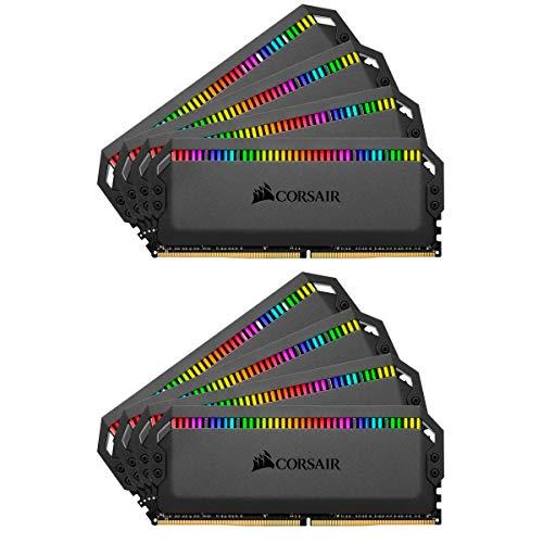 Corsair Dominator Platinum RGB 128Go 8x16Go DDR4 3600MHz C18, Eclairage LED RGB dynamique Kit de Mémoire – Black