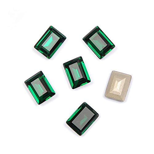 4527 Step Cut Top Genaaid Crystal Pointback Glas Strass Steentjes Naaien Strass Stenen voor Kleding Jurken, Emerald, met Zilver Klauw