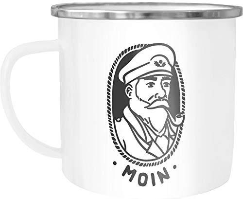 Moonworks Emaille Tasse Becher Kapitän Seemann mit Pfeife Schriftzug Moin Kaffeetasse weiß-metall Emailletasse