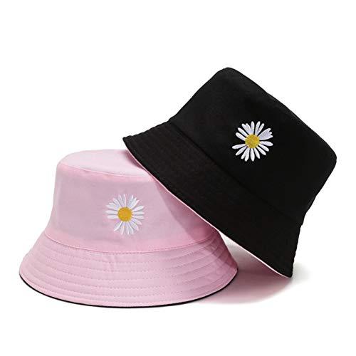 Sombrero de primavera para mujer, sombrero de pesca, protector solar, margaritas, de doble cara, para pescador (color: negro y rosa, tamaño: normal)