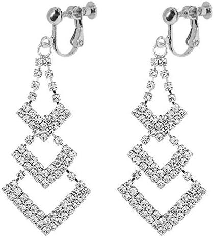 Waterfall Clip on Dangle Earrings for Women Girls Chandelier Geometric Layered Leaf Drop Boho Tassel