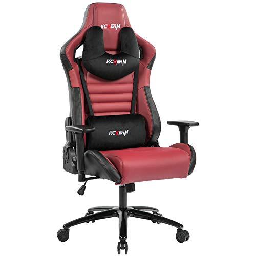 KCREAM Großer und hoher Gaming-Stuhl für Erwachsene, 136 kg, robuster Computerspielstuhl, ergonomischer Gaming-Stuhl, Kopfstütze und Lendenwirbelstütze