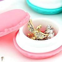 YANHUA 1pcs Cute Pink Color Macaron Jewelry Box Organizer Mini Storage Box Clip Holder Case