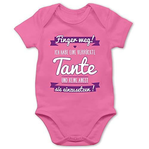 Shirtracer Sprüche Baby - Ich Habe eine verrückte Tante Lila - 12/18 Monate - Pink - Baby Bodys mädchen - BZ10 - Baby Body Kurzarm für Jungen und Mädchen