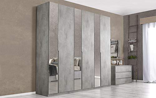 Dafne Italian Design Armadio a Specchio con 6 Ante battenti. Cemento Ash (cm. 274 x 60 x 250h)
