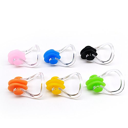 BRBD Set of 6 Waterproof Silicone Swimming Nose Clip Plugs for Adults...