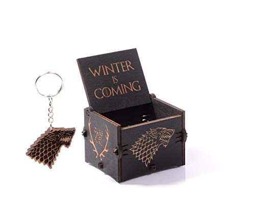 Game of Thrones Music Box Wooden Engraved Wood Main Theme GOT Winter is Coming for Fan Birthday Gift