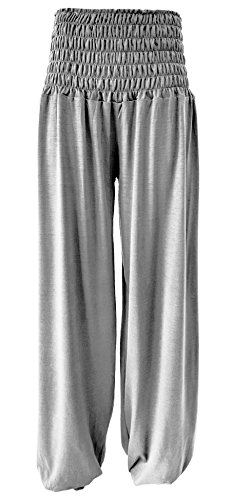 Unbekannt Umstandshose - Schlupfhose - Chill-Hose Haremshose Bundweite 35-60 cm Gr.S-XL (S - M, Silber)