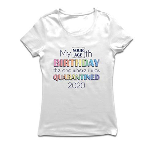 lepni.me Maglietta Donna 2020 Distanza Sociale Quarantena Personalizzata Regalo di Buon Compleanno (Small Bianco Multicolore)