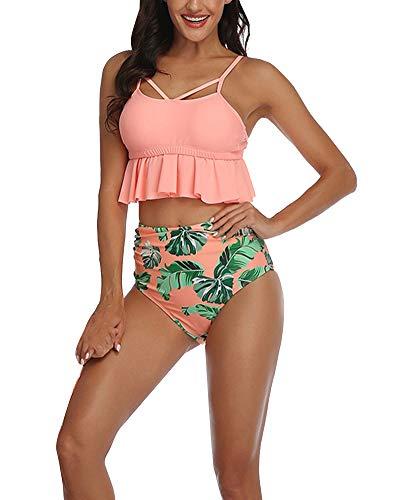 GUOCU Mujer Hija Conjunto De Frill Bikini Tiras Talle Alto Traje De Baño Cuello Halter Vientre Plano con Volantes Top Bikini Push Up Flores Braga Triangulo Naranja Niña:116