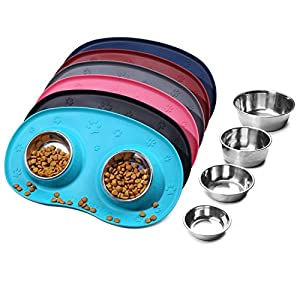 Vivaglory Small Dog Bowls Dishes Stainless Steel Cat Puppy Feeding Bowls with Wider Non Skid Spill Proof Silicone Mat, Turquoise