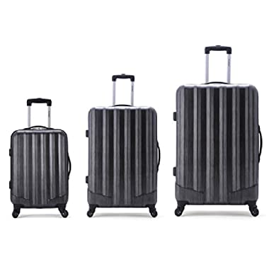 Rockland Luggage 3 Piece Metallic Upright Set, Carbon, Medium