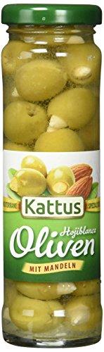 Kattus Spanische grüne Oliven mit Mandeln gefüllt, 2er Pack (2 x 140 g)